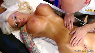johnny sins massage a tattoed blonde in tiger shade dress