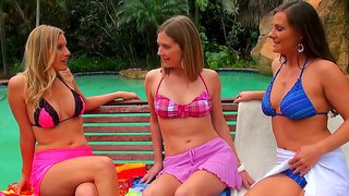 Three Lesbian Bikini Babes Suck Each Others Wet Cunts And Tits Dry By The Poolside.