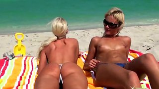 Blondes Jc Simpson And Molly Cavalli Topless On The Beach