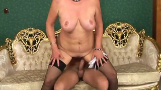 Hardcore Action In Which Crazy Old Bitch Sally G. Gets A Young Dick In The Pussy