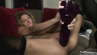 A Giant Purple Dildo Stretches Roxanne's Pussy To Its Limits