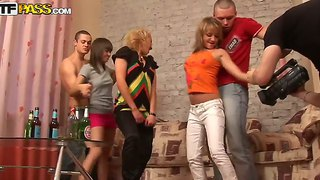 Crazy Russian Party Is Going Wild With Gorgeous Teens Evi C, Luna And Lydia