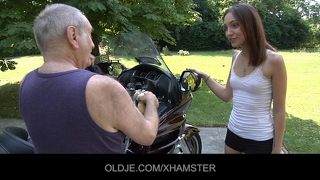 Cute Teen Rides A 70 Years Old Man
