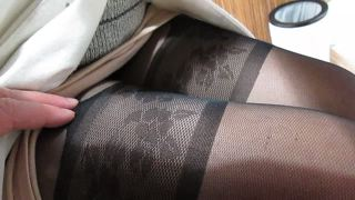 Girl Sitting In Stockings In Public