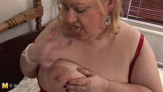 Big Mama Playing With Her Huge Tits And Old Cunt