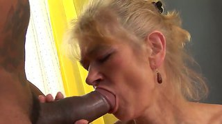 Skinny Granny Beata A Is Delighted To Have Franco Roccaforte's Huge Black Pecker To Ride On