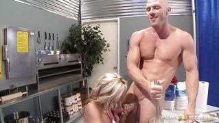 Blonde On Fire Giving Blowjob