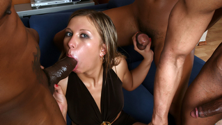 Whore Getting Her Holes Drilled With Three Huge Black Dicks