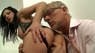oldie christoph clark gets footjob from abbie cat oldie christoph clark gets footjob