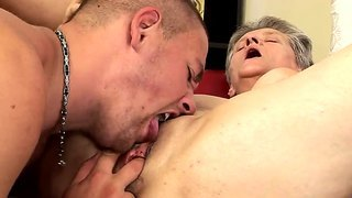 Hardcore Action With A Crazy Granny Named Aliz And Her Young Fucker