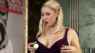 Victoria Summers Plays With Balls On Billiard Table