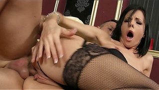 Perky Brunette Milf In Fishnet Stockings Gets An Anal Creampie