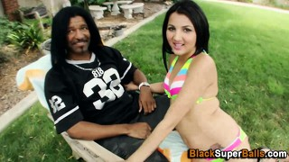 Interracial Blowjob Outdoors
