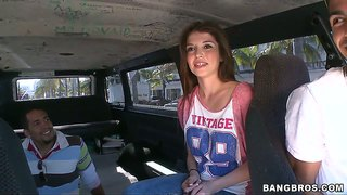 Cute Brunette Tiffany D.gore Nailed On The Bang Bus