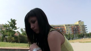 Young Brunette Mona Gets Naked In Public For Money