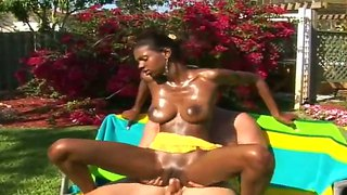 Slender Chocolate Princes Jay Got Her Body Excitingly Oiled By White Naughty Dude Trinidad And Sucked His Dick.