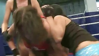 Three Sexy Brunettes In Hot Lesbian Wrestling