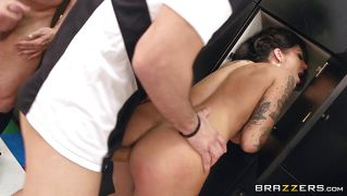 Tattooed Slut Gets Triple Penetration