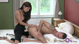 Strapon Hot European Brunette Pegging Her Boyfriend