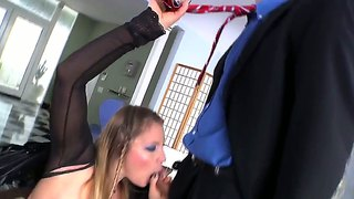 Aurora Snow Has Her Strap-On Sucks By A Sub