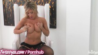 Blonde With Big Tits Rubs Her Pussy