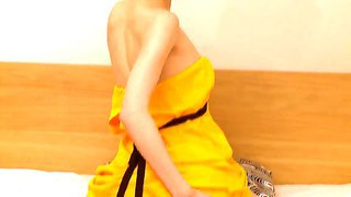 Skinny Chick With Awesome Small Boobs Beata Is Masturbating In Her Orange Dress
