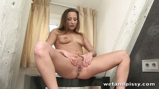 Hally Thomas Plays With Piss Covered Dildo