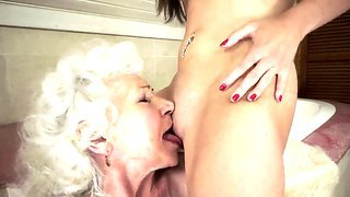 Blonde Granny With Sassy Boobs And Hairy Pussy Norma Having Fun With Slender Teen Vicky Braun