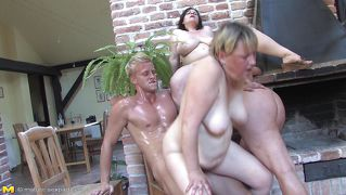Three Mature Ladies Enjoying A Young Cock!