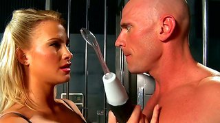 arousing brunette jessica jaymes lets hunk johnny sins to deep feel her tight pussy