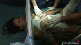 Injured Brunette Chick Gets Gangbang In Hospital