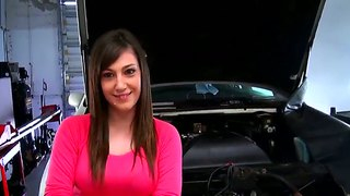 Busty Teen Brunette Tia Monae Gets Naked In The Car Repair And Masturbates