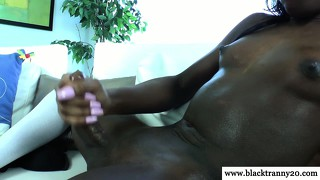 Ebony Shemale Toys Ass And Tugs Cock