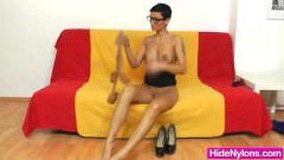 Shorthaired Vixen Panty-Hose Play