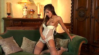 Danni Gee Checks The Oil In White Corset