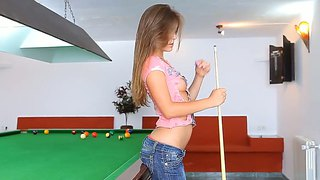 Tight Ass Guerlain Strips On Billiard Table