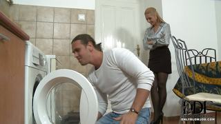 Blonde Sucks Repairman's Cock