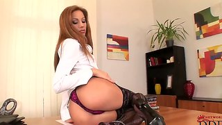 Naughty Secretary Anita Pearl Strips On Her Office Desk