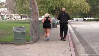 Blonde Fatty Gets Hand Down Her Pants