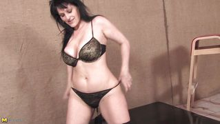 Brunette Cougar And Her Big White Dildo