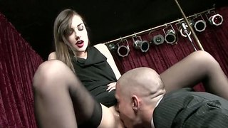 Famous Stripteaser Sasha Grey In Ultra Sexy Lingerie Serving A Rich Customer