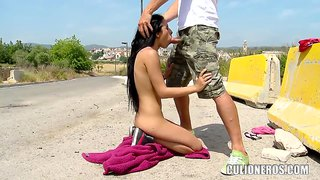 Petite Brunette Kerry Gets Dick In All Holes Outdoor