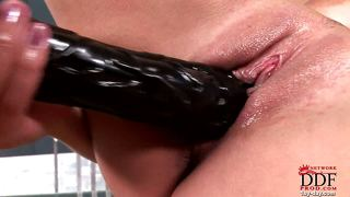 Zafira & A Huge, Black Dildo