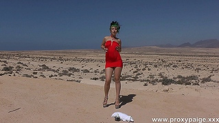 Desert, Red Dress And Bottle In Ass - Proxy Paige