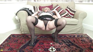 Mature Blonde Alisha On Couch