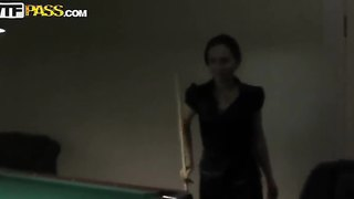 Gorgeous Natasha Playing Snooker And Making A Blowjob