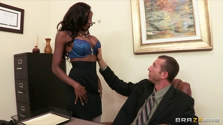 Ebony Lingerie Model Puts In Overtime