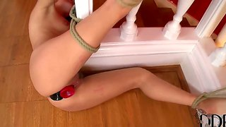 Tied Up Brunette Leyla Black Gets Her Hooles Plugged