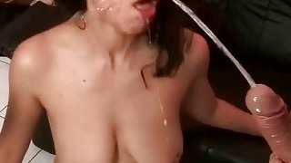 Two Guys Fucking And Pissing On Sexy Brunette