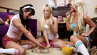 hot bffs sleepover leads into horny orgy in the bedroom
